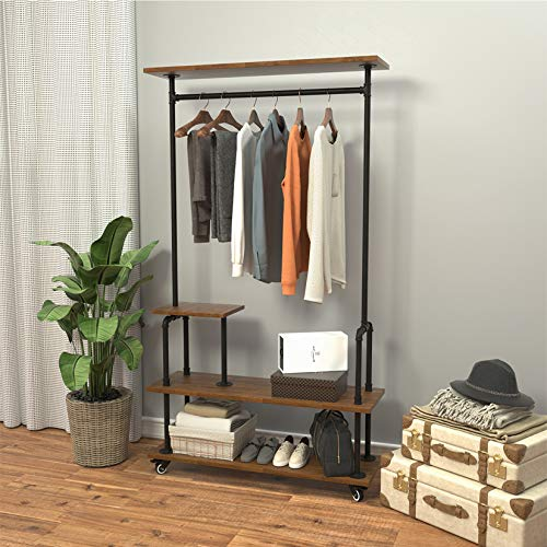 MDEPYCO 4 Tier Industrial Metal Pipe and Wood Rolling Garment Rack with Wheel,Retail Store Clothing Rack,Shoes Bags Clothes Organizer Storage Shelves,Floor-Standing Heavy Duty Clothes Rack