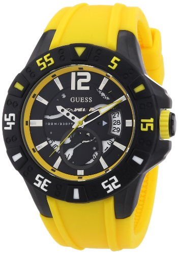 Guess Herren-Armbanduhr XL Magnum Analog Quarz Silikon W0034G7