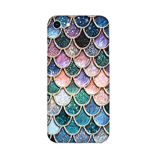 Funda iPhone 6 Carcasa Compatible con Apple iPhone 6 Cola de Sirena Escamas de Color Verde Azul púrpura Rosa/TPU Suave Gel de Silicona/Teléfono Hard Snap en Antideslizante Antideslizante Anti-ra