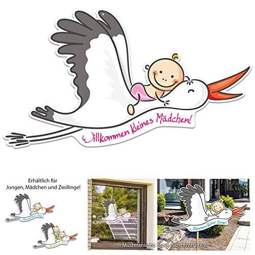 Willkommen Baby - MÄDCHEN - und Mama. Großer Storch mit Baby, 67 cm breit. Wunderschönes Geschenk zur Geburt. Zum Aufhängen an Fenster, Tür oder zum Stecken draußen im Garten.