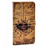 Hogwarts Marauder's Map Vintage Old Pattern Slim Wallet Card Flip Stand Leather Pouch Case Cover For Apple iphone 5 iphone 5S SE