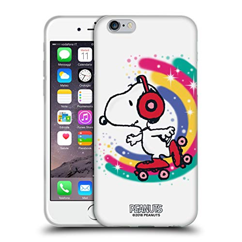 Head Case Designs Licenza Ufficiale Peanuts Skating Colorato Snoopy Passeggiata Aerografata Cover in Morbido Gel Compatibile con Apple iPhone 6 / iPhone 6s