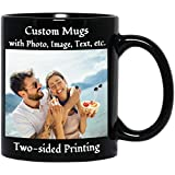 Custom Photo Coffee Mugs with Personalized Text and Photo Image Upload, Father's Day Mugs, Mother's Day Mugs, Great Photo Gifts for Family Friends Birthday Anniversary Easter Holiday