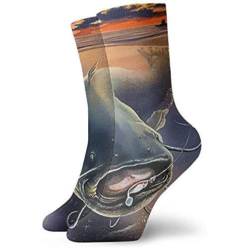 Dydan Tne Herrensocken Vintage Catfish Winter Warm Dick Bedruckte Lässige Gemütliche Crew Socken