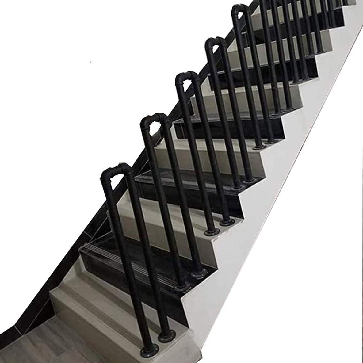 変換暖かさめ言葉産業用風力パイプ階段U字型手すり、マットブラック錬鉄製亜鉛メッキパイプ階段手すり、高齢者の子供用ロフト階段手すりサポートバー、ヴィラポーチガーデン用、オプションのサイズ