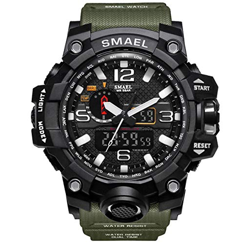 GOHUOS Herren Militärische Sportuhr, Analog Digital Sportuhr, Dual Time Display Casual 50m wasserdichte männliche Chronograph Quarz Armbanduhr mit PU-Uhrenarmband(Militärgrün)