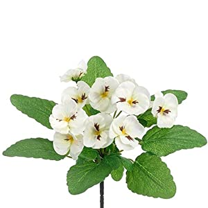 10″ Silk Pansy Flower Bush -White (Pack of 36)