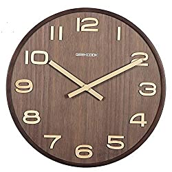 SHISEDECO Wooden Wall Clock Silent Wood Analog Clock Battery Operated Non-Ticking Quartz Large Round for Office Bedroom Living Room Decorative, Wood Frame & MDF Back (Arabic Numerals, 12 Dark Walnut)
