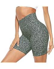 Persit Damen Kurze Sporthose, Blickdicht High Waist Radelhose Yoga Shorts mit versteckter Tasche im Bündchen