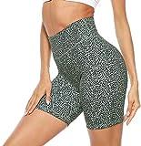 Persit Pantalones cortos de deporte para mujer, cintura alta, pantalones cortos de deporte, leggings con bolsillo oculto en los puños., negro y verde, 36