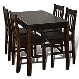 5 Teilige Essgruppen Esstisch aus Holz mit 4 Holzstühlen Braun