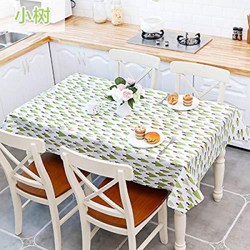 Traann tafelkleed van wasdoek, afwasbaar, rechthoekig, waterdicht, vinyl, pvc, tafelkleed voor tuin, keuken, buiten of binnen, salontafel, tapijt, kleine boom