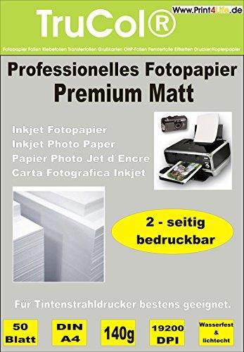 50 Blatt Premium Mattes beidseitiges Fotopapier Inkjet-Papier Photopapier 140g /m² doppelseitig DIN A4 bis 9600 DPI Tintenstrahldrucker wasserfest spezialbeschichtet