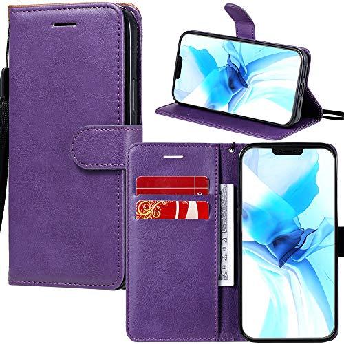 Capa carteira XYX para LG X Power 3, capa carteira de couro PU de cor sólida para LG X Power 3 (roxa)
