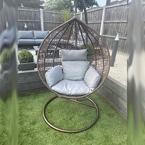 CGC Brown Hand Weaved Rattan Rust Proof Egg Swing Chair Large Grey Luxury Cushion Round Shape Outdoor Garden Patio Indoor Hanging