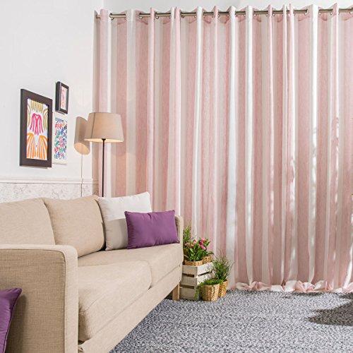 Sancarlos - Cortina confeccionada ISABEL, Algodón y Poliéster, Color Rosa, 270x140 cm