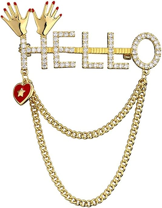 GYZX Fashion Crystal Regular discount Pin Suit Tulsa Mall Chain New Tassel Brooch Al Popular