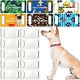 16 Pieces Slide-On Pet ID Tags Sublimation Blank Dog Tag DIY Double Sided Dog Tags MDF Heat Transfer Pet Tag Pendent Blank Craft Pet ID Tag for Personalized Dogs Cats Pets Button or Snap Style Collars