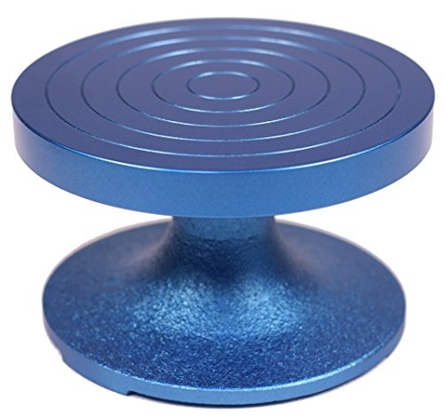 Creative Hobbies BW-18M Professional Sculpting Wheel Turntable 7 Inch Diameter, Heavy Duty Solid Cast Iron, Ball Bearing Design, Weighted Top, Blue Color