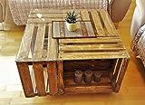 Tisch aus Weinkisten auf Rollen mit Glasplatte geflammt Couchtisch Shabby Chic Vintage Tisch aus Obstkisten Apfelkisten Holzkisten - 2