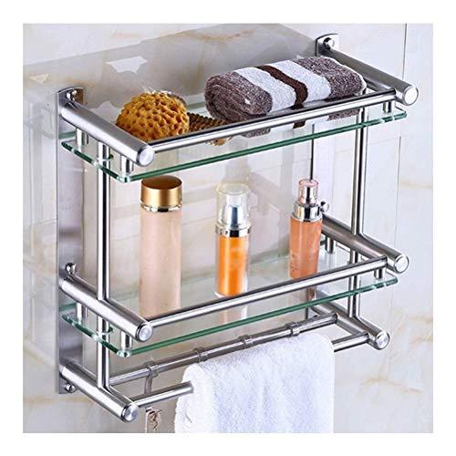 ZWJ roestvrijstalen badkamerrek glas met servetlijst en spoorborstel Heavy-Duty Rustproof 2-traps Monte plank 40~50 cm 11-13