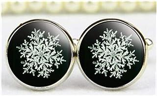 Copo de nieve Gemelos, Gemelos de negro y blanco copo de nieve, arte, Navidad Cuff Link