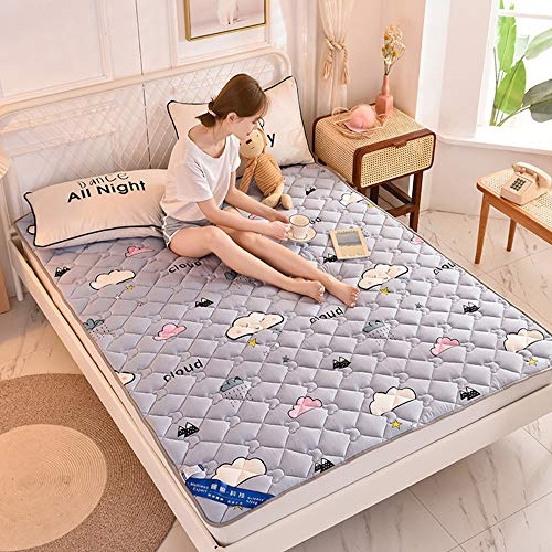 KKCD Thin Sleep Tatami Mattress Pads Protectors,Thin Folding Tatami Floor Mat Topper,Hotel Home Dormitory Mattress Pads Protectors,Cloud,180x200cm