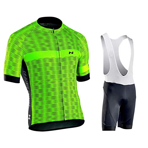 WEIWEI - Conjunto de ropa de ciclismo y pantalones cortos para hombre, con banda elástica, 3 bolsillos traseros, tira reflectante, malla transpirable, color A, tamaño xx-large