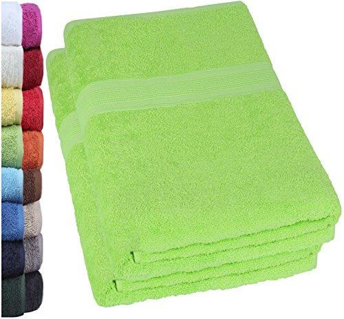 NatureMark 2er Pack DUSCHTÜCHER PREMIUM Qualität 70x140cm DUSCHTUCH Dusch-Handtuch Doppelpack Farbe: Apfel grün