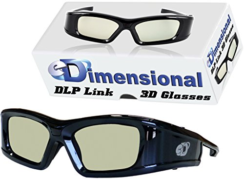 Adult DLP Link eD Elite 144 Hz 3D Glasses (eDimensional Active Rechargeable) for All 3D DLP Projectors - BenQ, Optoma, ViewSonic & Endless Others!