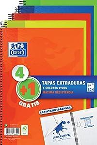 Oxford - Pack 4+1 Cuadernos Folio A4, Tapa Extradura Write&Erase, 80 Hojas Cuadrícula 4x4, colores Vivos Surtidos