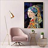 ganlanshu Chica con un Arete de Perla Imprimir en Lienzo Carteles e Impresiones de Lienzo de Arte Decoración de Pared para Sala de Estar en el hogarPintura sin marco-60x90cm