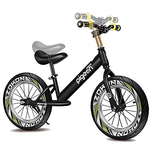 Bicicleta Sin Pedales Equilibrio Azul Negro Grande Niños, Niño Bicicleta de Equilibrio Rueda de Aire de 16 Pulgadas, Sin Pedales Bicicleta de Aluminio Ligera, Asiento y Manillar Ajustables, Carga 60kg