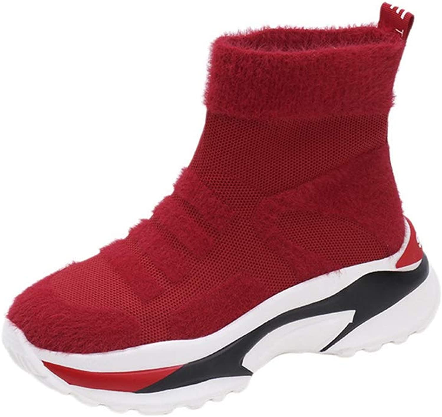 Women's Lightweight Ankle Boots Elastic Knit High Top Socks Sneakers, Anti-Skid Wedge shoes
