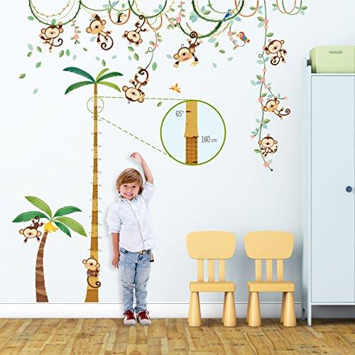 DECOWALL DA-1507P1607 Scimmia sulla Vite e tabella di altezza Adesivi da Parete Decorazioni Stickers Murali Soggiorno Asilo Nido Camera Letto per Bambini decalcomanie