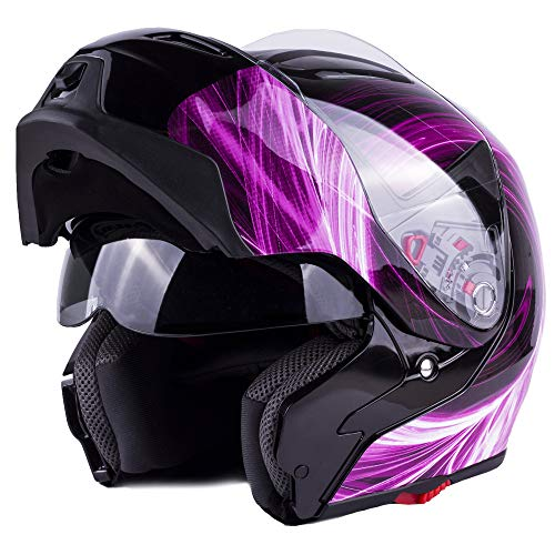 Typhoon G339 Women's Modular Full Face Motorcycle Helmet Flip-Up Dual Visor DOT (Pink Small)