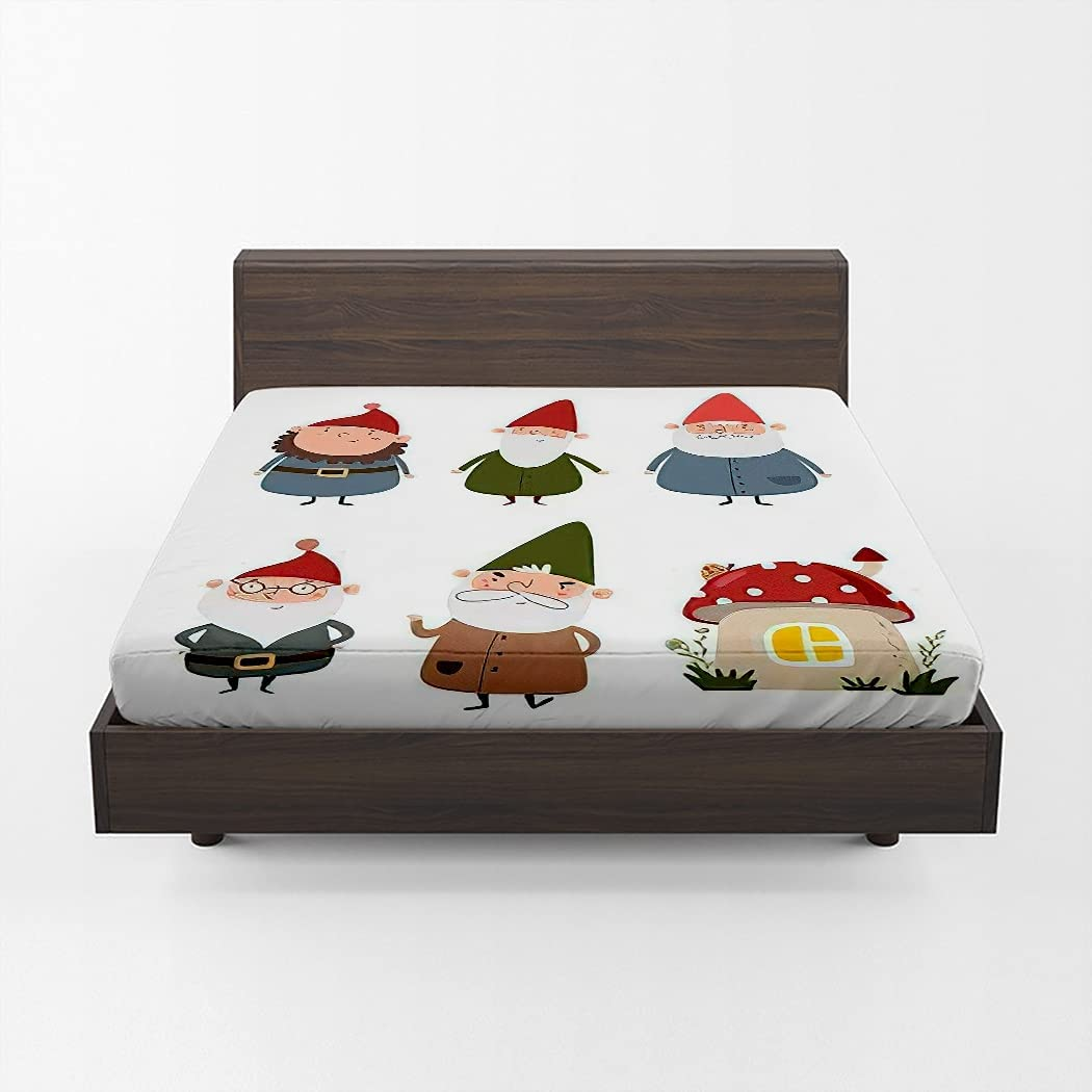 Huipaya Cute Gnomes Fitted Sheet Direct sale of manufacturer Cartoon Animer and price revision Ho Mushroom Gnome
