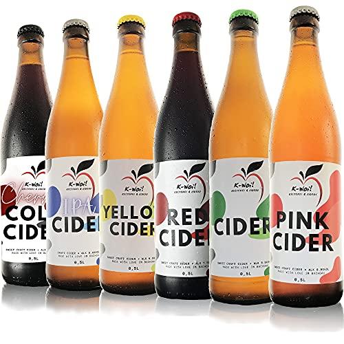 K-Woi! Original Cider 6er-Probierset (6 x 0,5l), Lieblicher Cider Probierpaket aus Deutschen Streuobst- und Lokalen Apfelwiesen, Hergestellt von Direktsaft ohne Konzentrat