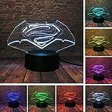 Children's Room Decoration lamp& Cool Dc Legends Superman Batman Logo Simbolo 7 Cambia Colore Fans Ragazzi Camera da letto Notte Decor Luce Bambino Amico Natale Regalo di Festa