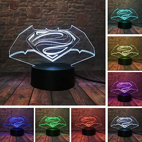 Lumière Ambiante, Cool Legends Superman Batman Dc Logo Simbolo 7 Cambia Colore fans Ragazzi Camera da letto Notte Décor Luce Bambino Amico Natale Regalo di Festa Lumière d'ambiance