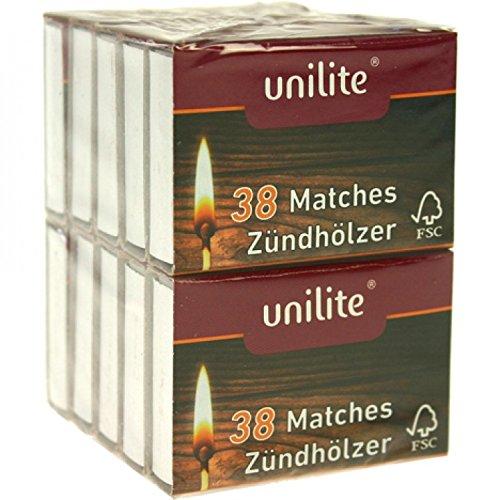 Unilite® Streichhölzer 380 Holz Zündhölzer 10 Schachteln (6 Pack)