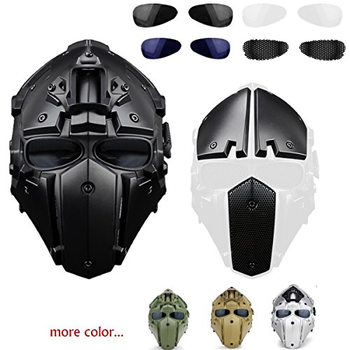 iMeshbean Full Face Protective Mask Tactical Airsoft Helmet with 4 Pairs Visor Goggles as a Gift for Hunting Paintball Military Motorcycle Cosplay Movie Prop (Black)