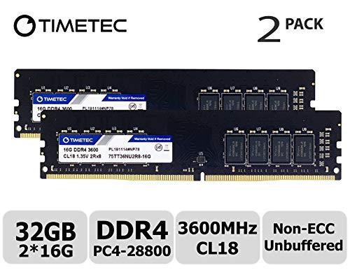 Timetec Hynix CJR IC - Kit de 32 GB (2 x 16 GB, DDR4 3600 MHz, PC4-28800, CL18, 1,35 V, sin búfer, sin ECC para Juegos y de Alto Rendimiento, Compatible con AMD e Intel Desktop Memory