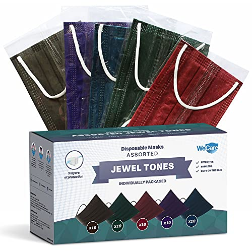 WeCare Disposable Face Mask Individually Wrapped - 50 Pack, Assorted Jewel Tone Print Masks - 3 Ply