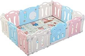 QFFL Baby Playpen  Portable Playard For Babies  amp Toddler Panel Kids Activity Center For Home Indoor Outdoor-Gray Pink Blue  Color Style Size panel -150x200x65cm