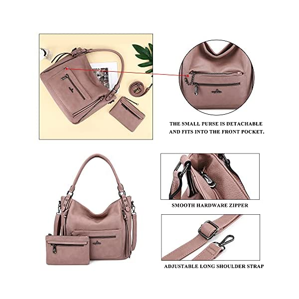 Angelkiss Hobo Shoulder Bags for Women Large Faux Leather Crossbody Purses with Wallet Clutch 2pcs Set