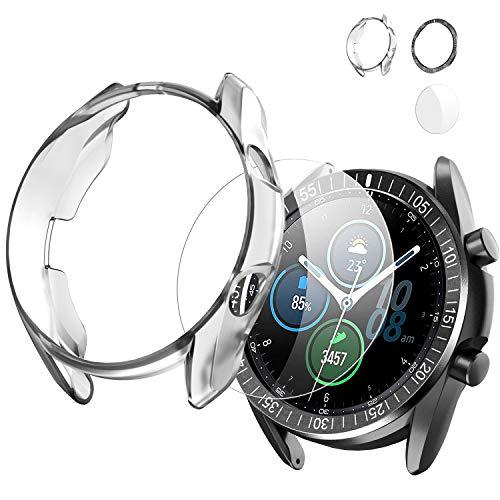 Wiki VALLEY 3 in 1 Schutzhülle für Samsung Galaxy Watch 3 45 mm, weiches Silikon-Stoßfängergehäuse + rostfreier Stell-Lünettenring + Kratzfeste HD-Glasabdeckung Kompatibel mit Galaxy Watch3