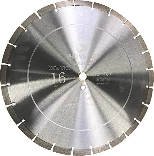 Whirlwind USA LSS 16 inch Dry or Wet Cutting General Purpose Power Saw Segmented Diamond Blades for Masonry Brick/Block Pavers Concrete Stone (Factory Direct Sale) (16
