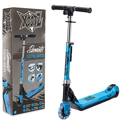 Xootz Kids Electric Scooter Folding with LED Light Up Wheel and Collapsible Handlebars Element Blue