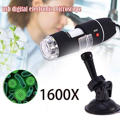 domiluoyo 1600X - Microscopio portátil 2 en 1, USB, microscopio, reconocimiento electrónico Digital